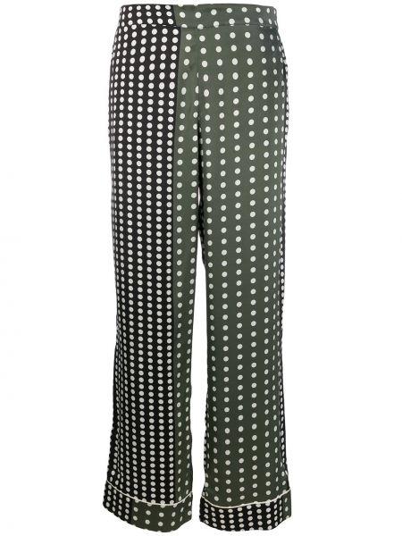 Czarna piżama z jedwabiu w grochy Asceno