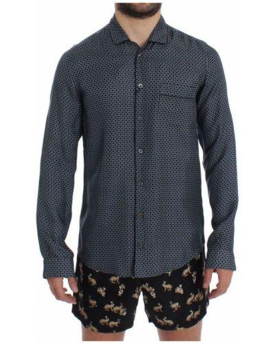 Niebieski t-shirt z printem z jedwabiu Dolce And Gabbana