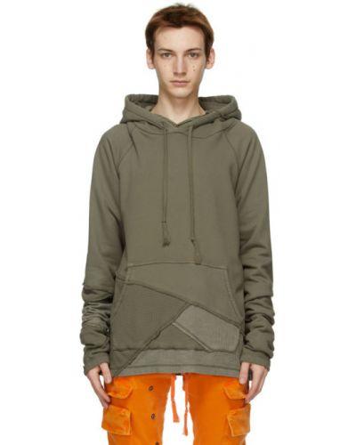 Bluza długa z kapturem khaki z długimi rękawami Greg Lauren