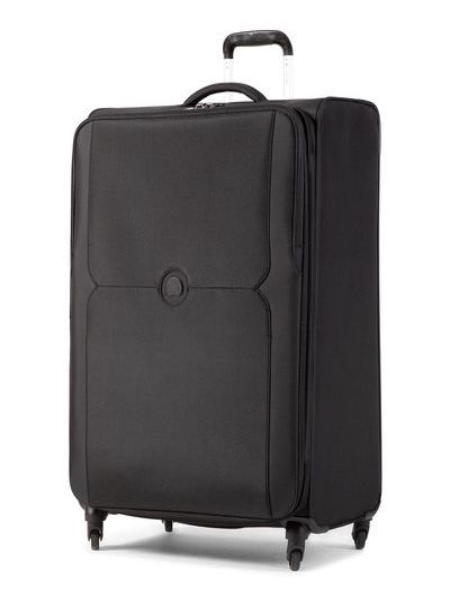 Czarna walizka materiałowa Delsey