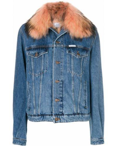 Джинсовая куртка с мехом с енотом Forte Couture