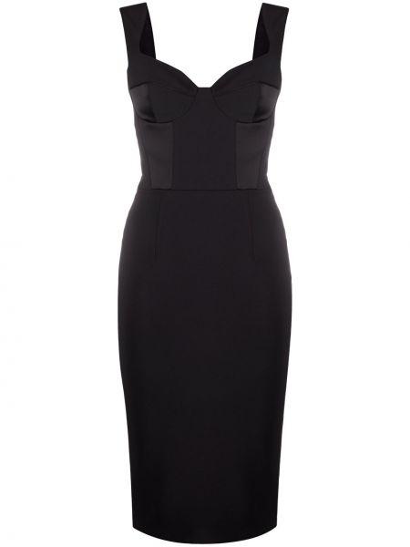 Сатиновое черное приталенное платье без рукавов Elisabetta Franchi