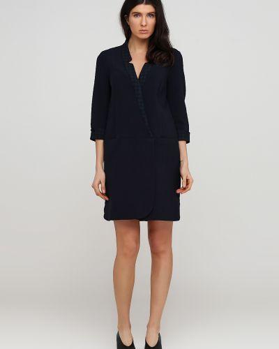 Синее платье на кнопках из плотной ткани Kookai