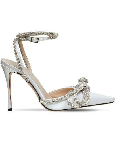 Кожаные белые туфли-лодочки на каблуке Mach & Mach