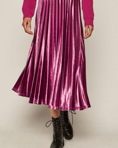 Różowa spódnica midi rozkloszowana materiałowa Medicine
