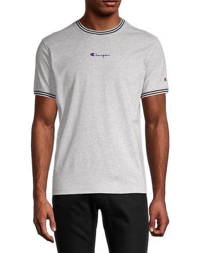 Хлопковая футболка в полоску с короткими рукавами Champion
