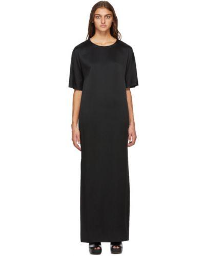 Черное сатиновое платье макси с воротником с короткими рукавами Haider Ackermann