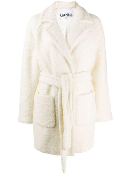Шерстяное белое длинное пальто с карманами Ganni