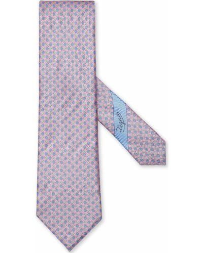 Krawat z printem - różowy Ermenegildo Zegna
