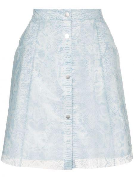 Синяя с завышенной талией юбка прозрачная на пуговицах Paskal