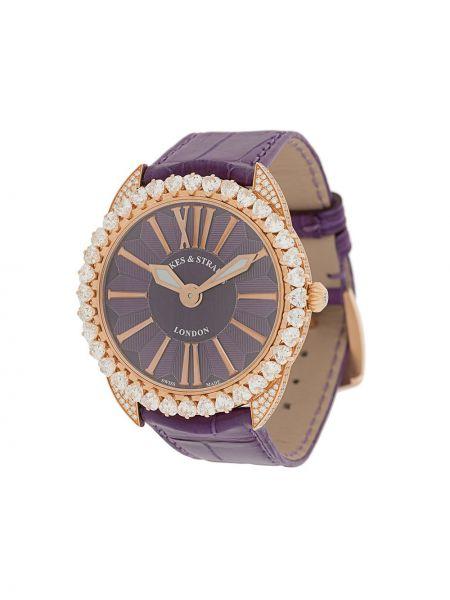 Fioletowy złoty zegarek na skórzanym pasku Backes & Strauss