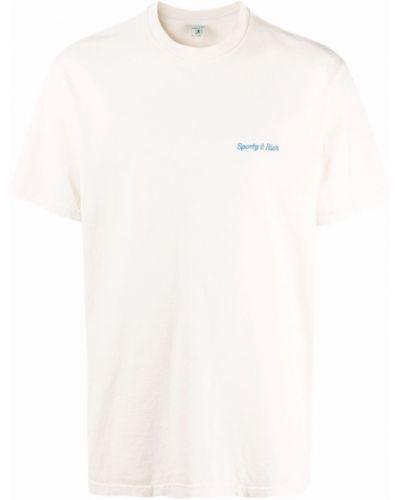 Biała koszulka z haftem Sporty And Rich