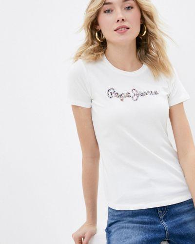 С рукавами белая футболка Pepe Jeans