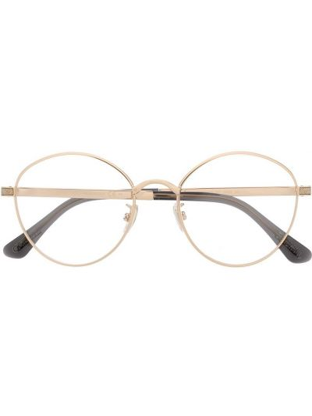 Золотистые желтые очки металлические Jimmy Choo Eyewear