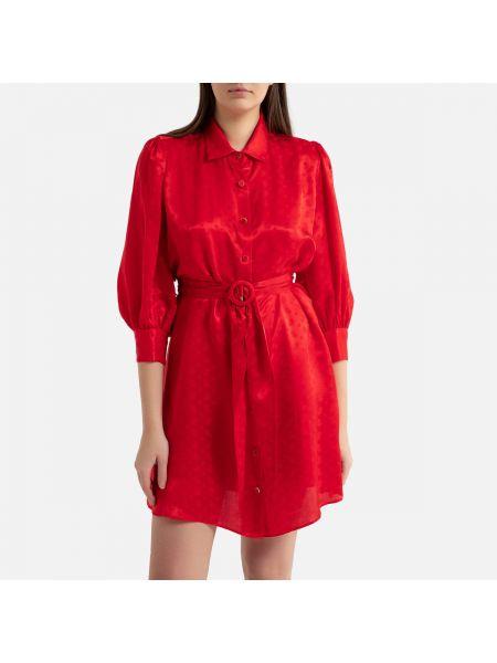Платье с поясом на пуговицах из вискозы La Redoute
