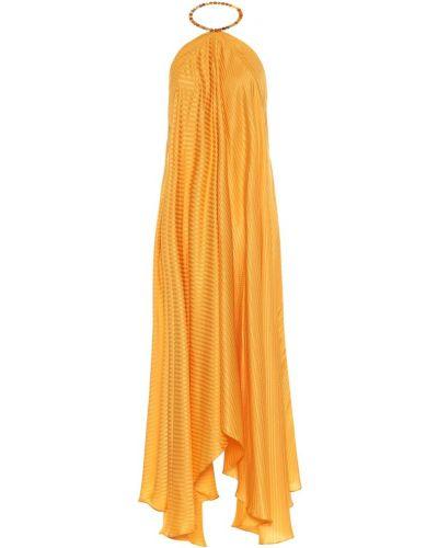 Шелковое желтое платье макси Galvan