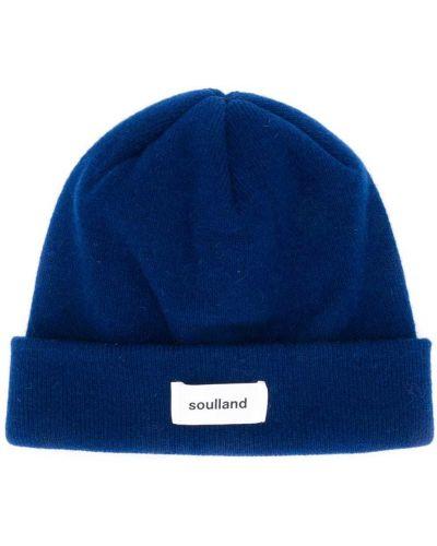 Шерстяная синяя шапка бини с отворотом с заплатками Soulland