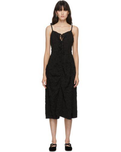Черное асимметричное платье с воротником без рукавов Renli Su