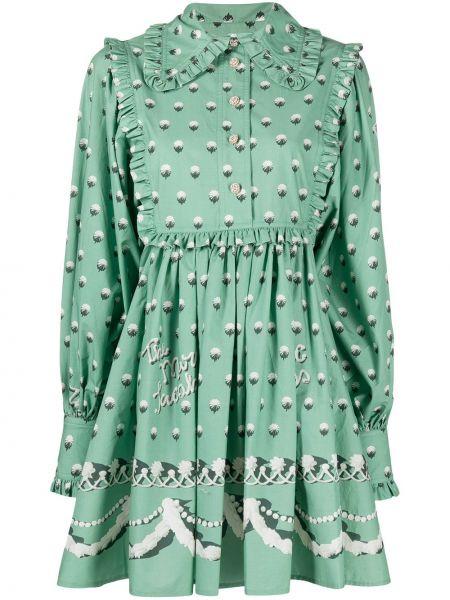 Плиссированное платье - зеленое Marc Jacobs