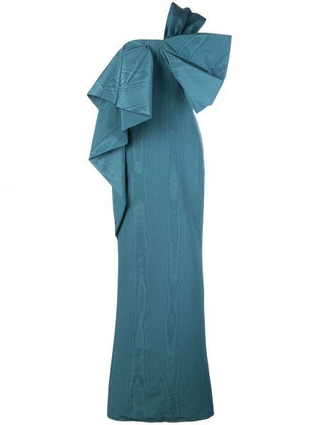 Синее платье на одно плечо с бантом Oscar De La Renta