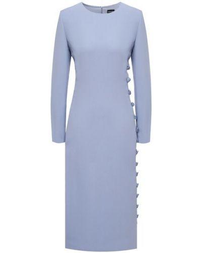 Шелковое синее платье с подкладкой Giorgio Armani