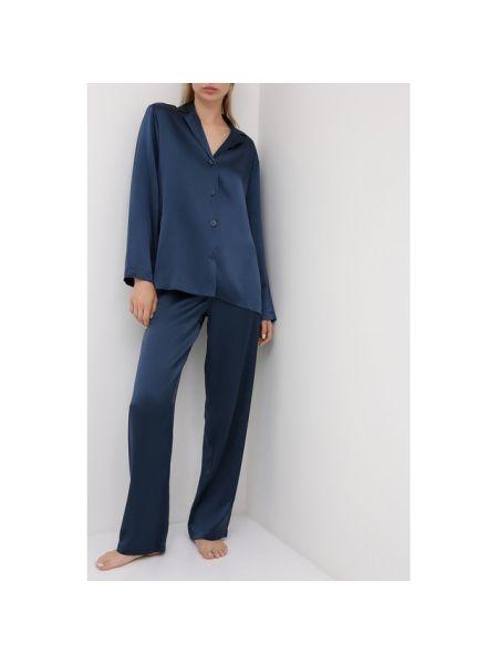 Шелковая синяя пижамная пижама La Perla