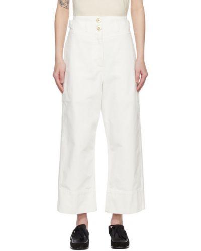 Прямые белые укороченные джинсы с вышивкой Lanvin