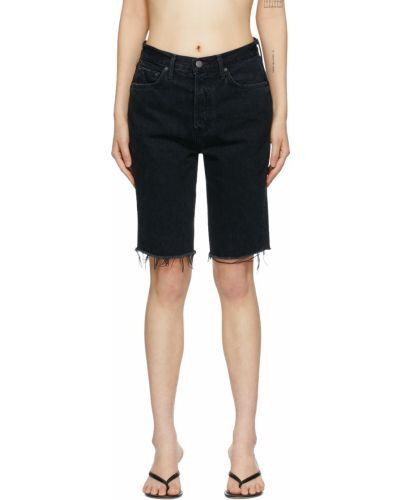 Czarne jeansy z paskiem skorzane Grlfrnd