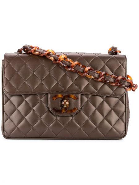 Коричневая сумка-тоут на молнии с карманами винтажная Chanel Pre-owned