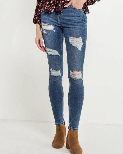 Синие джинсы рваные Topshop