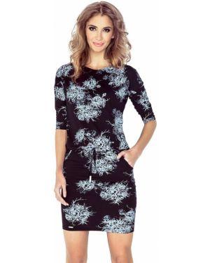 Czarna sukienka w kwiaty materiałowa Morimia