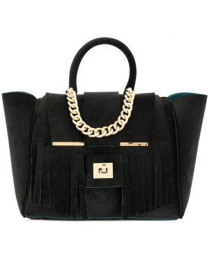 Бархатная черная сумка-тоут Alila