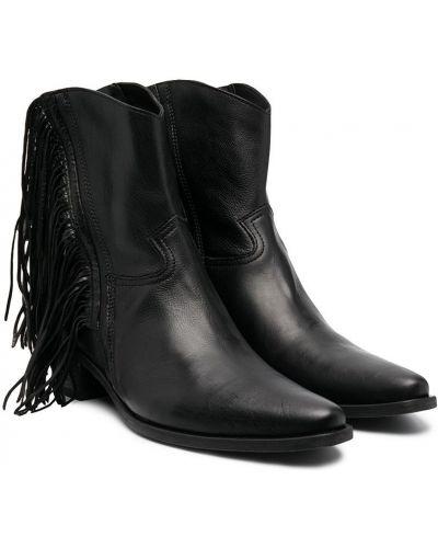 Кожаные черные ботинки на каблуке с опушкой Cinzia Araia Kids