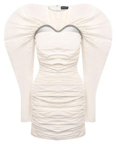 Вечернее платье с декольте - белое David Koma