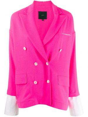 Розовый пиджак двубортный с карманами Jejia