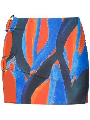Niebieska złota spódniczka mini z printem Louisa Ballou