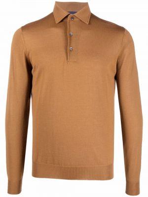 Brązowa koszula z długimi rękawami Lardini