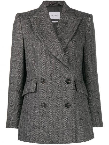 Серый шерстяной пиджак с карманами двубортный Ballantyne