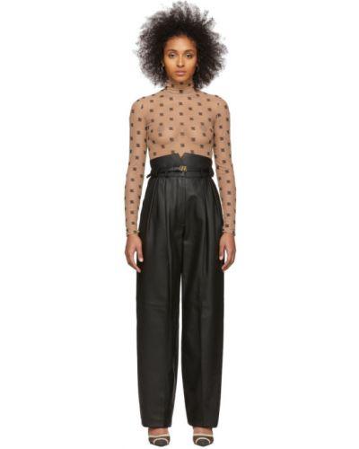 Черные кожаные брюки с карманами Fendi