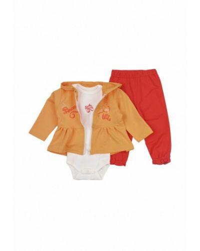 Костюм белый оранжевый фламинго текстиль