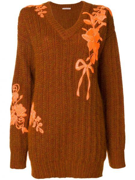 Brązowy sweter wełniany z haftem Christopher Kane