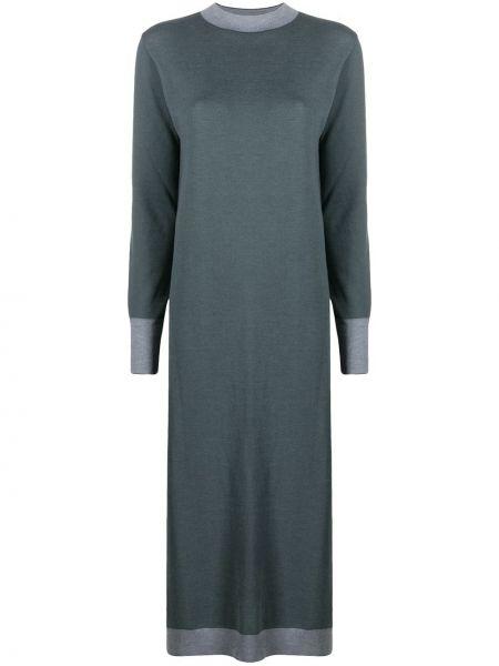 Шелковое серое с рукавами платье миди Maison Ullens