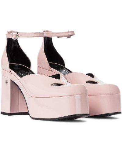 Кожаные розовые туфли-лодочки на платформе Gucci