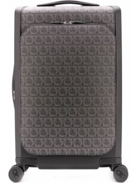 Кожаный черный чемодан на молнии двусторонний Salvatore Ferragamo