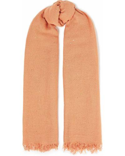 Оранжевый кашемировый шарф с пайетками Chan Luu