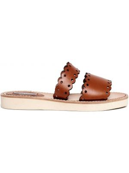 Brązowe sandały skorzane płaska podeszwa Tabitha Simmons