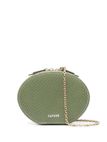 Zielona torebka skórzana z printem Cafuné