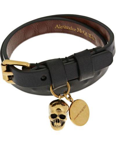 Czarna złota bransoletka ze złota pozłacana Alexander Mcqueen