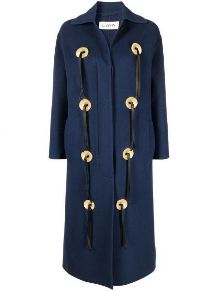 Черное длинное пальто с воротником на пуговицах Lanvin