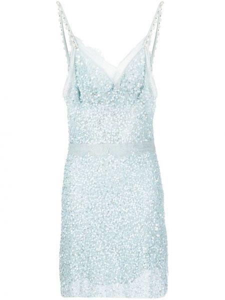 Кружевное синее платье мини с пайетками Amen.